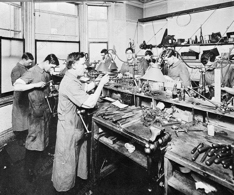 optical Glass lens manufacturing workshop 1910